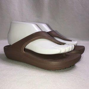 Crocs Brown Tan Wedge Flip Flops Women's 7